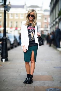 In London, Montarna wears a Balenciaga top with Topshop jacket, Balenciaga shoes, and The Row shades #streetstyle