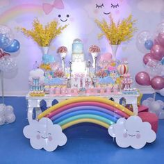 chuva-de-amor-decoracao-festa-cha-de-revelacao-de-bebe3 Rainbow Unicorn Party, Rainbow Birthday Party, Baby Girl Birthday, Unicorn Birthday Parties, Cloud Party, 1st Birthdays, Baby Party, Birthday Decorations, Party Time