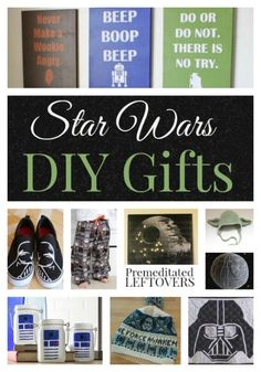 DIY Star Wars Gifts- These homemade gifts are inspired by The Force! Create clothing, wall art, and more for the Star wars fans on your Christmas gift list.