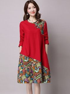 Ericdress Autumn Long Sleeve Print Patchwork Ethic Casual Dress