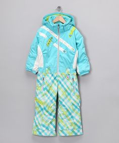 If I were able to go skiing with my little girl, I'd get this for her! So fun... and easy to spot on the slopes!    Take a look at this Bluebell Tartan Peace Snowsuit - Toddler & Girls by Obermeyer Girls on #zulily today!