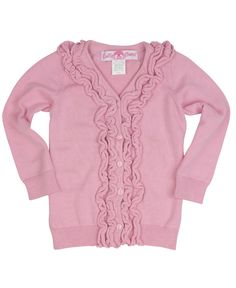 This ruffled cardigan is the perfect choice when you want your little one looking good but the weather is cooling down!
