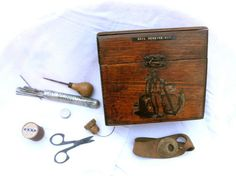 1920s Sail Mending Kit with Rustic Wooden Box Mending Darning Sailor Tools // Image of a Sailor