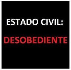 Estado civil: desobediente (pin por @pablocoraje)