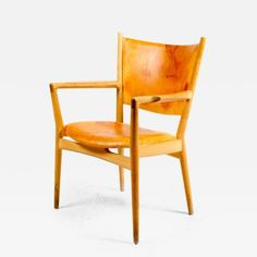 Hans Wegner   Armchair In Ash U0026 Patinated Leather Offered By FK   Gallery  On InCollect