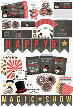 Printable Magic Show Complete Party Package   DIY Kids Party Decor   Magician Party   Red Gold and Black   Ticket Invitations   Banner   Photo Props   Food Labels   Signs   Cupcake Toppers   Water Bottle Labels   Favor Tags   Popcorn Box