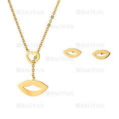 collar y aretes de labios de dorado en acero inoxidable-SSNEG483486