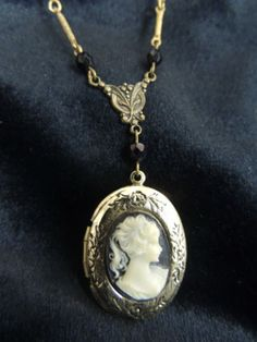 Vintage Victorian Cameo Locket Pendant Necklace Gold Black Jet Mourning Jewelry