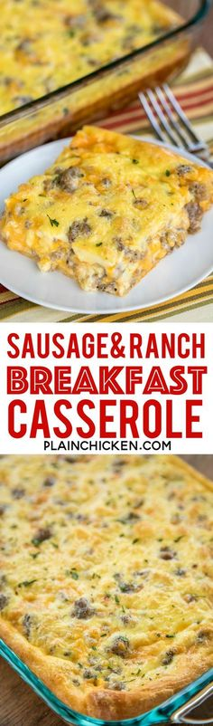 Sausage and Ranch Breakfast Casserole Recipe - CRAZY good!! Crescent rolls topped with eggs, milk, cheddar, sausage and ranch. Ready to eat in about 30 minutes. Great for potlucks, brunch, breakfast, lunch, dinner and tailgates!! Everyone RAVES about this easy breakfast casserole recipe!!! #breakfastrecipe #breakfastcasserole #sausagerecipe #casserole #casserolerecipe