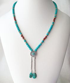 Southwest style necklace turquoise beads Southwestern