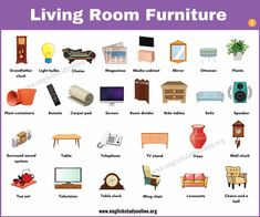Living Room Furniture: Useful List of 60 Objects in The Living Room - English Study Online Learn English For Free, Improve Your English, Tv Stand Vases, Vocabulary Words, English Vocabulary, Improve Your Vocabulary, Visual Dictionary, Carpet Padding, English Sentences