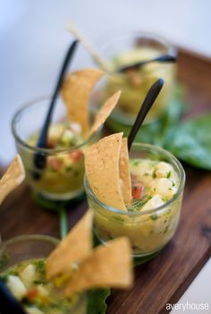 reception appetizers / mini chips and salsa / Chicago wedding / Bliss Weddings & Events Chicago Athletic Association, Mini Chips, Chips And Salsa, Wedding Events, Weddings, Chicago Wedding, Guacamole, Summer Wedding, Appetizers