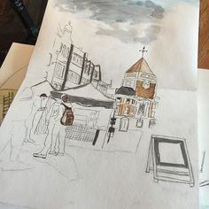 Thinking time , coffee time and sketching. Sketching outdoor kingston upon Thames market place #sketching #sketchbook #urbansketchers #londonurbansketchers #london #kingstonuponthames