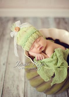 Vintage Style Green Baby Girl Knit Hat/Newborn Size by grizzlie, $26.00