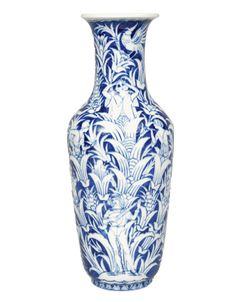 """A big vase with blue painting    Meissen, c. 1920. Vase with trumpet neck, circumferential decorated with persons and a bird between stylized plants. Signed """"H. Stein"""". Crossed swords in u""""glaze blue, inscr. P127, impr. 65. H. 58,5 cm."""