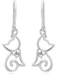 Diamond Accent Open Little Cat Dangle Earrings