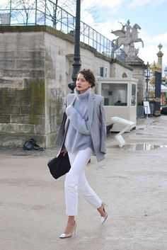 I do not object to seeing that grey knit/white denim combo again. Paris.