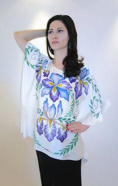 Handmade boutique blouse Irises hand painted by JoannaArtDesign