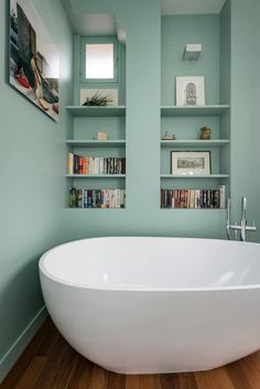 A freestanding bath in a small pastel green bathroom - Bathroom Interior, Modern Bathroom, Small Bathroom, Bathrooms, Bad Inspiration, Bathroom Inspiration, Home Deco, Interior Decorating, Interior Design