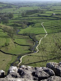 Looking down on Malham from Malham Cove (Yorkshire Dales) British Countryside, North York, Yorkshire Dales, Homeland, Great Britain, Stretching, Travel Around, Travel Ideas, Wales