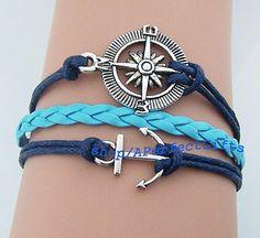 Silver compass bracelet Bracelet Anchor Bracelet light blue leather Navy rope jewelry Sailor bracelet Sailing jewelry Nautical bracelet by APerfectGifts, $3.99