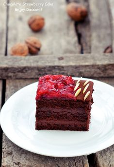 Chocolate Strawberry Cake, Chocolate Cakes, Homemade Chocolate, Something Sweet, Sweets, Desserts, Food, Wings, Sweet Pastries
