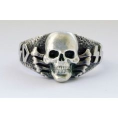 II German silver skull rings with crossbones for sale. Silver Skull Ring, Skull Rings, Jewelry Rings, Silver Jewelry, Jewlery, Criminal Tattoo, Tiger Tank, Skull And Crossbones, Unique Rings
