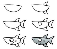tehe :) Fish Drawings, Animal Drawings, Art Drawings, Easy Fish Drawing, Fish Drawing For Kids, Simple Cartoon Drawings, Simple Drawings For Kids, Drawing Techniques, Drawing Lessons