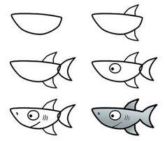 imparare a disegnare squalo how-to-draw-funny-cartoons.com