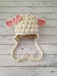 Crochet Baby Girl Crochet Baby Girl Lamb Hat Animal Photo Prop by NewYarnCreations - Baby Girl Crochet, Crochet Baby Clothes, Crochet Baby Hats, Crochet Beanie, Crochet For Kids, Baby Knitting, Crochet Hats For Girls, Crochet Baby Stuff, Newborn Crochet