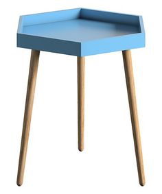 Loving this Blue Wood Hexagon End Table on #zulily! #zulilyfinds