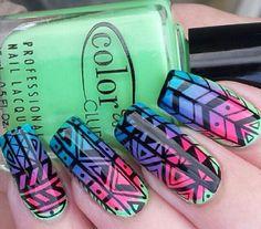 Rainbow gradient tribal print nails