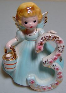 This Vintage Josef Originals Birthday Angel #3 Girl Figurine Is Wearing A Lovely Blue Dress & Is Carrying A Pail & Ladle