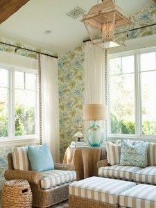 Nice sunroom. Love the colors. Use my linen fabric.