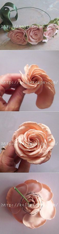 Great idea for fabric roses. Cloth Flowers, Fabric Roses, Fake Flowers, Diy Flowers, Wedding Flowers, Ribbon Art, Ribbon Crafts, Fabric Ribbon, Flower Crafts