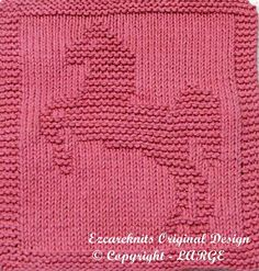 Knitting pattern for Lipizzaner Horse Wash Cloth or Afghan block - horse motif… Knitted Washcloth Patterns, Knitted Washcloths, Dishcloth Knitting Patterns, Crochet Dishcloths, Knit Or Crochet, Knitting Stitches, Knit Patterns, Baby Knitting, Stitch Patterns