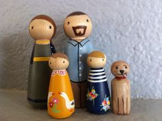 Custom Peg Doll Family of 5  Peg People painted to by PegBuddies, $60.00