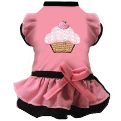 pink cupcake black line puppy dress