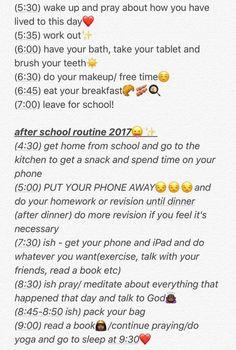 Routine #BeautyRoutineForWomen School Routine For Teens, Morning Routine School, School Routines, Night Routine, School Hacks, School Tips, School Checklist, School Notes, School Stuff