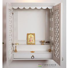 Solid Wood Handmade Enclosure for God/Traditional Pooja Mandir/Classy Temple/Pooja Ghar/Ethnic Temple/Trelis Shutter in White Stain Room Interior, Home Interior Design, Temple Design For Home, Bedroom Cupboard Designs, Bedroom Designs, Mandir Design, Pooja Mandir, Pooja Room Door Design, Room Partition Designs
