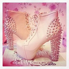 Jeffery Campbell Lita High Heel White Spiked Boots