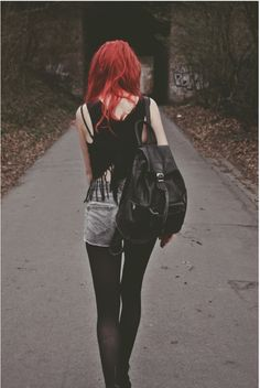 Grunge Rock Style Love Black Wasted Fashion Girl Dyed Hair Leave
