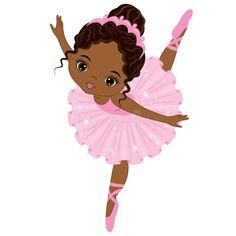 Illustration of Vector cute little African American ballerina dancing. Vector ballerina girl in pink tutu dress. African American ballerina vector illustration vector art, clipart and stock vectors. Black Ballerina, Ballerina Dancing, Ballerina Party, Little Ballerina, Little Girl Dancing, Black Love Art, Black Girl Art, New Baby Dress, Ballerina Silhouette