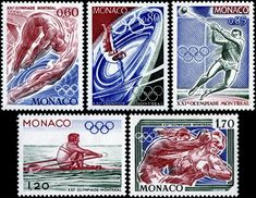 Here are images of the five engraved stamps in a set depicting Olympics sports issued by Monaco on May 3, 1976 to publicize the 21st Summer Olympic Games held in Montreal, Canada, Scott Nos. 1025-29.