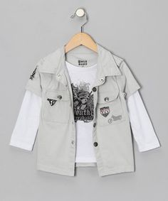 Take a look at this Gray Snap Layered Top - Toddler & Boys by Wild Mango Clothing Co. on #zulily today!