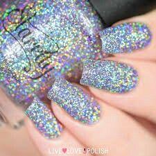 #holographic Holo Nail Polish, Glitter Nail Polish, Nail Polish Colors, Acrylic Nails, Black Nails With Glitter, Holographic Nail Polish, Nail Polishes, Fabulous Nails, Gorgeous Nails
