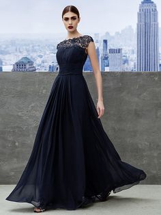 TS Couture® Formal Evening / Black Tie Gala Dress A-line Bateau Floor-length Georgette with Draping / Lace - USD $94.99