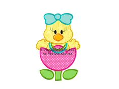 Easter Chick in a Tulip  Applique Embroidery by AppliqueDownload