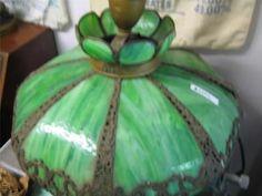"Antique Green Slag Hanging Tiffany Lamp Shade 23"" x 28""   eBay"