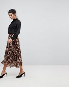 Y.A.S Long Leopard Print Skirt